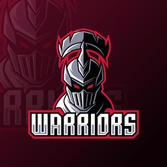 Warrior spartan roman knight mascotte gaming logo ontwerpsjabloon