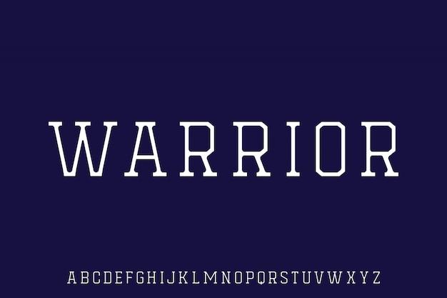 Warrior, varsity clean elegant college condensed sporty font alfabetical vector