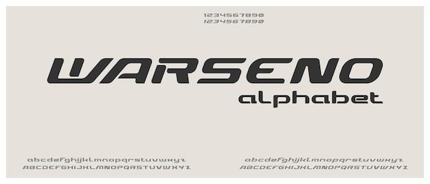 Warseno, digitaal modern alfabetlettertype met stedelijke stijlsjabloon