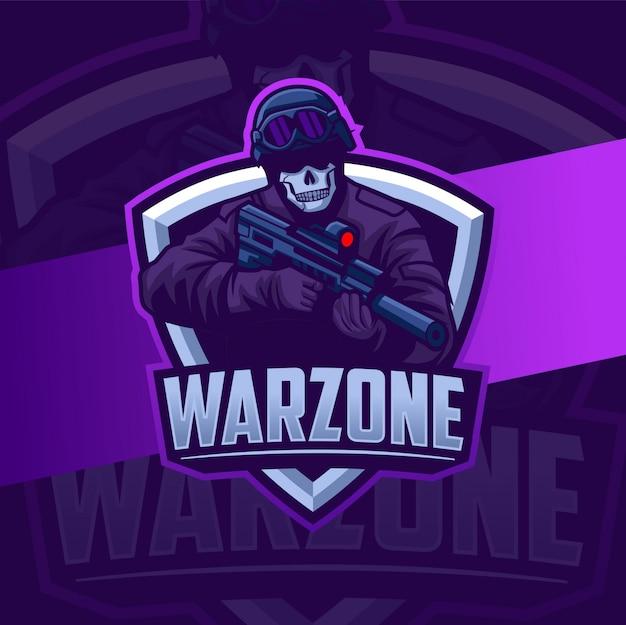 Warzone militaire mascotte met wapen esport logo-ontwerp