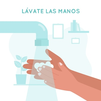 Was je handen in het spaans