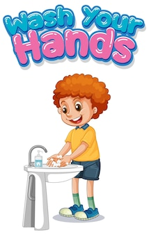 Was je handen lettertypeontwerp met een jongen die zijn handen wast op een witte achtergrond