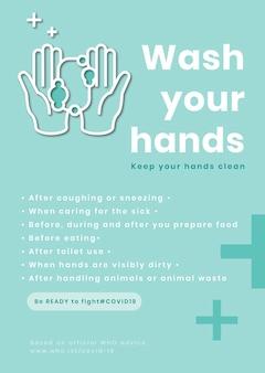 Was je handen, wees klaar om de covid-19-sjabloon te bestrijden Gratis Vector