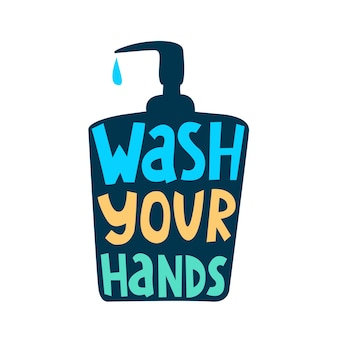 Was je handenhandgetekende vectorletters in de vorm van een zeepdispenser