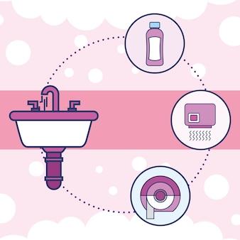 Wasbakken shampoo handdroger toiletpapier
