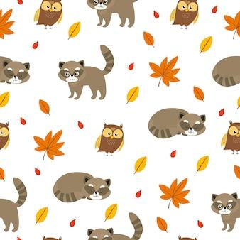 Wasbeer en uil patroon