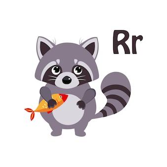 Wasbeer. grappig alfabet, dier
