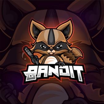 Wasbeer mascotte esport logo ontwerp van illustratie