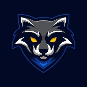 Wasbeer mascotte gaming geïsoleerd op donkerblauw