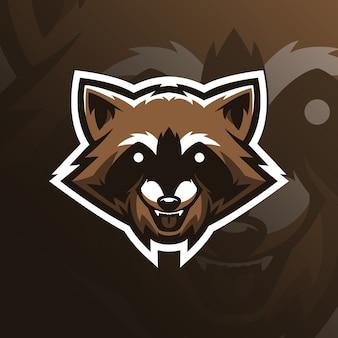 Wasbeer mascotte logo-ontwerp met moderne illustratie conceptstijl voor badge, embleem en t-shirt afdrukken.