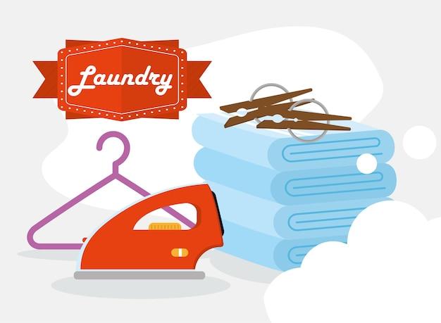 Washanddoeken ijzeren hanger en wasknijpers met bubbels