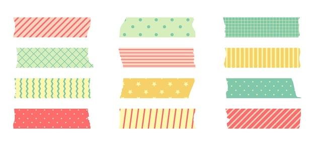 Washi maskeertape set. leuke sticker van scotchpapier voor plakboek. tape set van japanse stijl met lint, stip decoratief element.