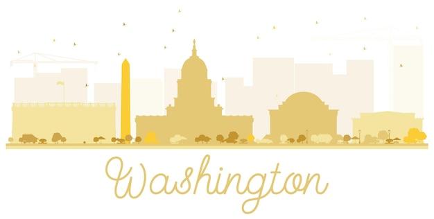 Washington dc city skyline gouden silhouet. vector illustratie. eenvoudig plat concept voor toeristische presentatie, banner, plakkaat of website. zakelijk reisconcept. stadsgezicht met bezienswaardigheden.