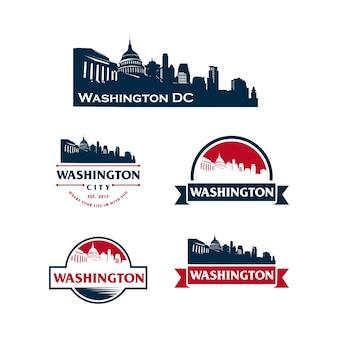 Washington dc logo stadsgezicht en bezienswaardigheden silhouet vectorillustratie