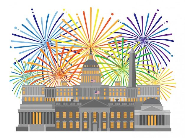 Washington dc monumenten monumenten en vuurwerk illustratie