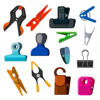 Wasknijper wasknijper en kantoor klem clip houden gereedschap pin voor wasgoed illustratie set wasknijper of houten wasknijper wasgoed geïsoleerd op witte achtergrond