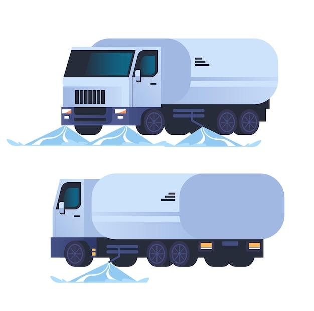 Wasmachine auto stad concept platte ontwerp illustratie