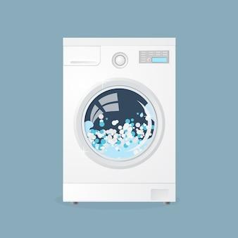 Wasmachine in vlakke stijl