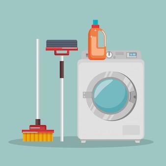 Wasmachine met wasservice pictogrammen