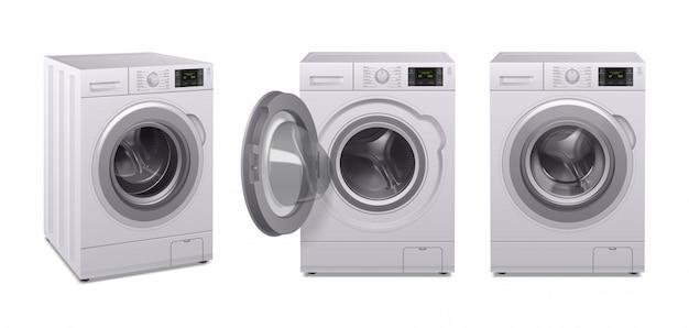 Wasmachine realistische icon set drie product van huishoudelijke apparaten in verschillende positie