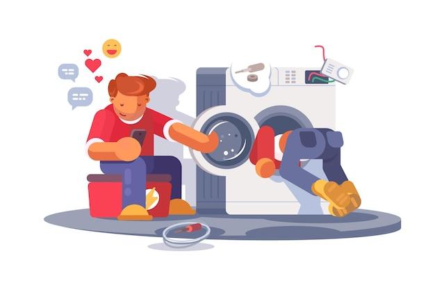 Wasmachine reparatie. reparateurs die een kapotte wasmachine reviseerden