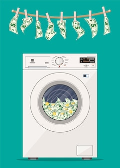 Wasmachine vol dollarsbankbiljetten