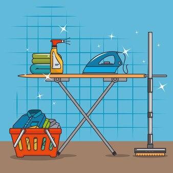 Wasmand en strijkplank