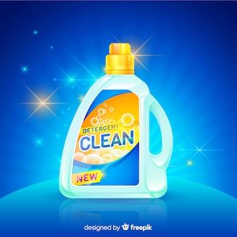 Wasmiddel advertentie met realistisch ontwerp