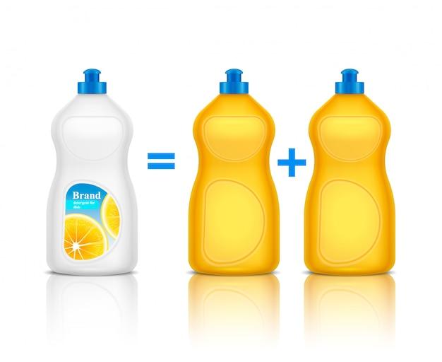 Wasmiddel dat een realistische samenstelling adverteert met het promoten van een nieuwe merkfles in vergelijking met andere illustratie van schoonmaakmiddelen