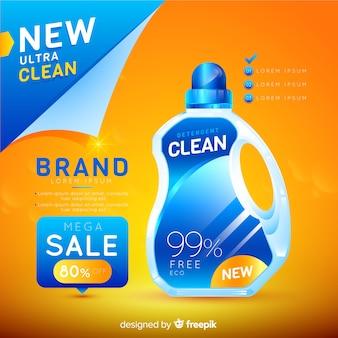 Wasmiddel verkoop realistische advertentie