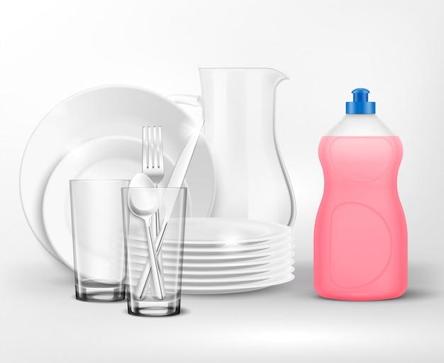 Wasmiddelfles schone afwassamenstelling met realistische borden en schalen met plastic fles afwasmiddel