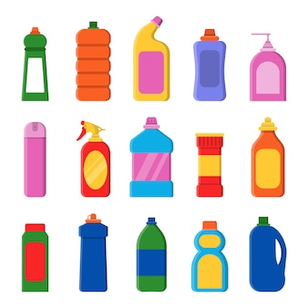 Wasmiddelflessen. reinigingsproducten container huishoudelijke artikelen wasservice platte illustraties