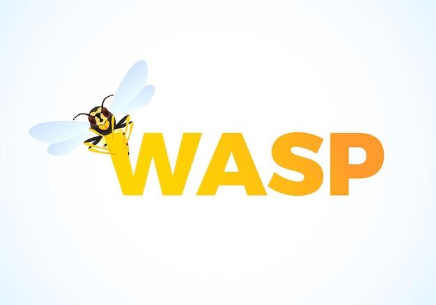 Wasp cartoon op kleurentekst