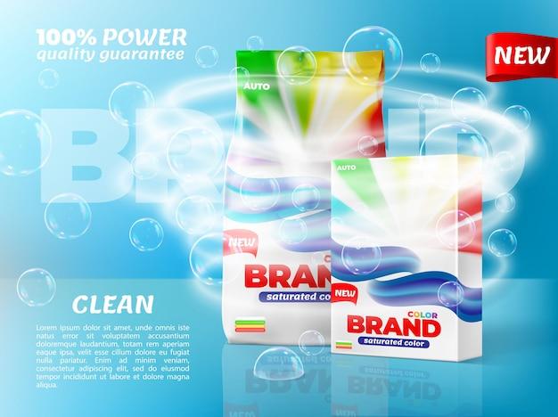 Waspoederverpakking met zeepbellen en waterwerveling. wasmiddelpapier bop en plastic zakverpakkingen met merkkleurlabels realistisch vectormodel, nieuwe promobanner voor huishoudelijk product