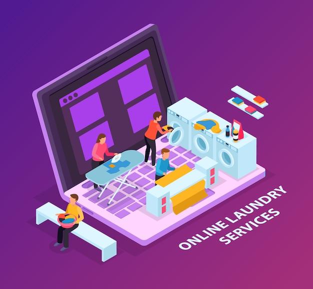 Wasruimte isometrisch concept als achtergrond met beeld van laptop computer en wasmachines bovenop toetsenbord
