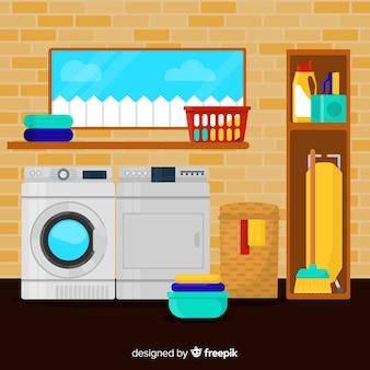 Wasruimte met een plat ontwerp