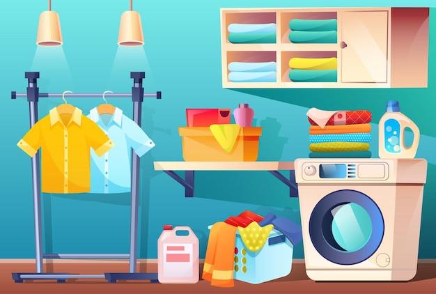 Wasruimte met schone of vuile kleren en uitrusting en meubels badkamer met spullen wasmachine mand met vuile bevlekte linnen plank voor handdoeken en wasmiddelen cartoon afbeelding
