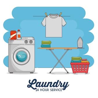 Wasruimte met wasmachine en kleding Premium Vector