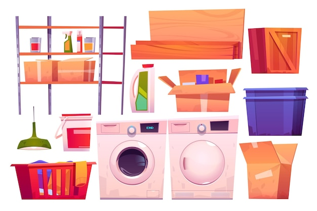 Wasruimteapparatuur voor het wassen en drogen van kleding cartoon set