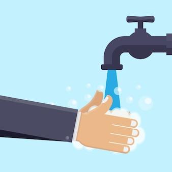Wassen handen vlakke afbeelding