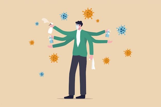 Wassen, uw handen reinigen en het oppervlak reinigen om het coronavirus covid-19-infectieconcept te beschermen, gezonde man met meerdere handen die alcoholgel gebruikt om zijn handen te wassen en een ontsmettingsmiddel om het oppervlak schoon te maken.
