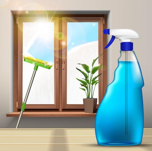 Wassen van de ramen, met dweil en spuitproduct met plant op het raam.