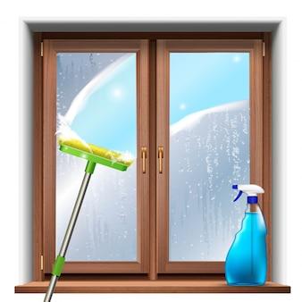 Wassen van de ramen, met dweil en spuitproduct.
