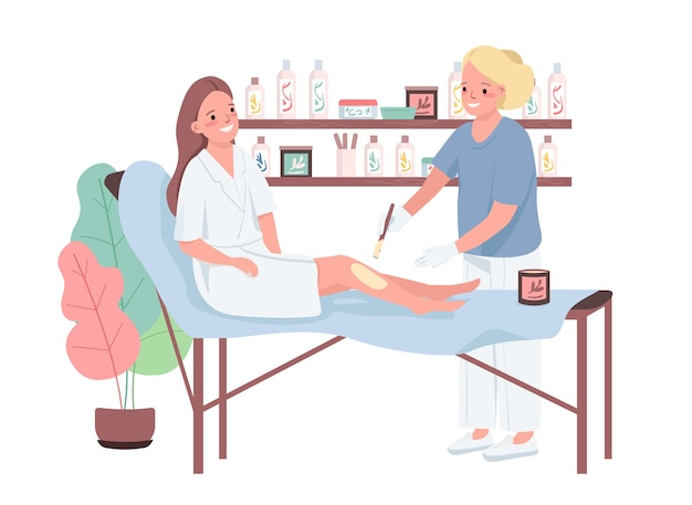 Wassen van egale kleurkarakters. haarverwijdering op benen. professionele vrouwelijke schoonheidsspecialiste. epileren behandeling. ontharing op het scheenbeen. schoonheidssalon procedure geïsoleerde cartoon afbeelding
