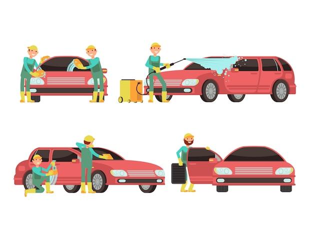 Wassende auto diensten vectorconcepten met auto's en reinigingsmachines