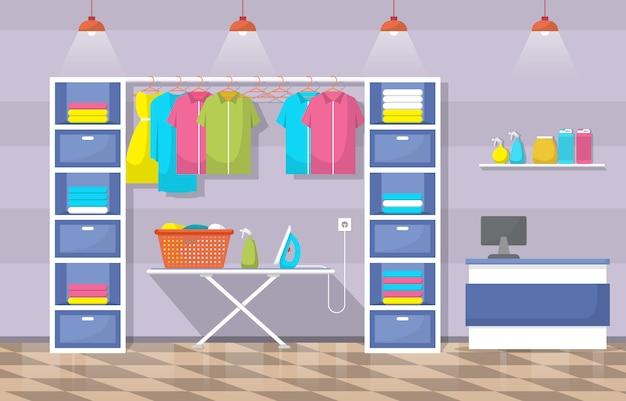 Wasserette schone kleren wassen wasserij gereedschap modern interieur