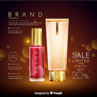 Wasserij cosmetica verkoop realistische advertentie