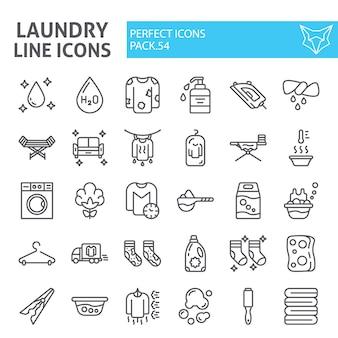 Wasserij lijn icon set, wassen collectie