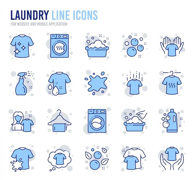 Wasserij lijn pictogrammen. droger, wasmachine en vuil shirt.