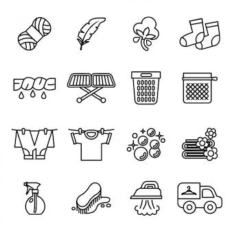 Wasserij pictogrammen. huishoudelijk werk pictogrammen